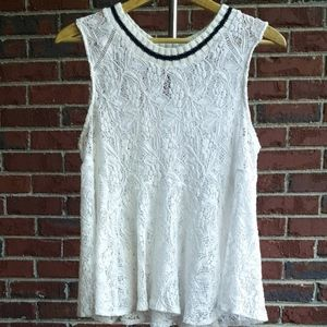 Acemi white floral crochet sleeveless swing top